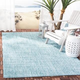 Safavieh Indoor/ Outdoor Courtyard Aqua/ Aqua Rug (8' x 11')