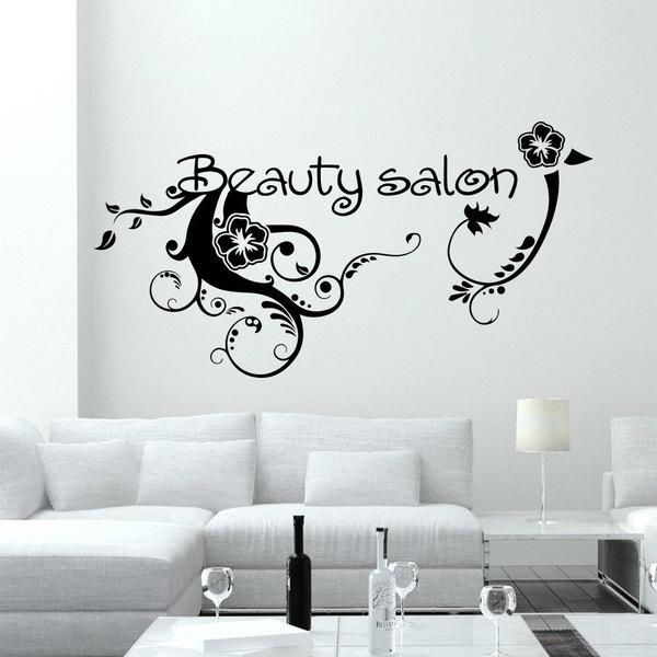 Shop Wall Decal Fashion Flowers Beauty Salon Design Vinyl