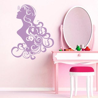 Wall Decal Fashion Beauty Salon Face Girl Woman Long Hair Design Vinyl Decals Home Decor Purple