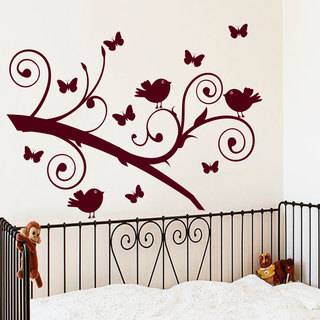 Wall Decal Tree Silhouette Branch With Bird Butterfly Wall Decals For Kids Playroom Red