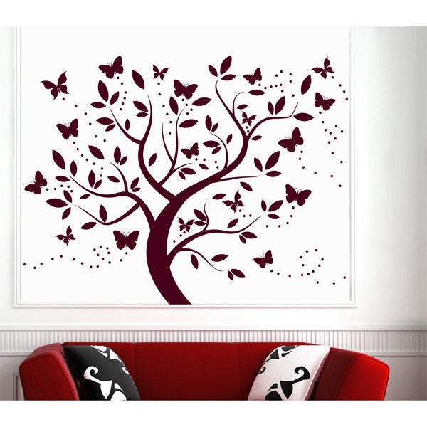 Wall Decal Tree Silhouette With Branches Butterfly Art Wall Decals For Kids Decor Red