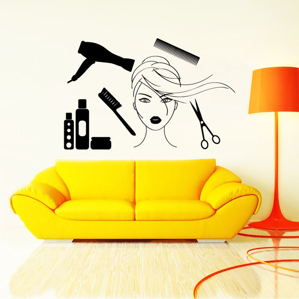 Wall Decal Fashion Beauty Salon Cosmetics Face Girl Woman Long Hair ...