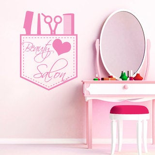 Wall Decal Scissors Comb Cosmetics Clothing Vinyl Decals Hairdressing Decor Pink