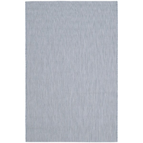 Safavieh Indoor/ Outdoor Courtyard Aqua/ Grey Rug - 8' X 11'