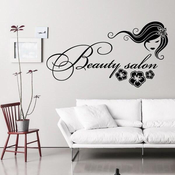 Shop Wall Decal Fashion Beauty Salon Face Girl Long Hair Design Vinyl Decals Wedding Hair Salon