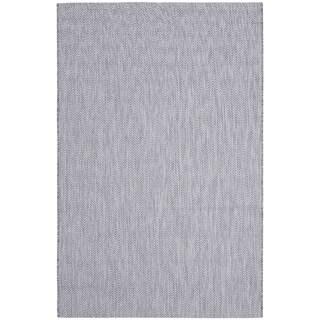 Safavieh Indoor/ Outdoor Courtyard Grey/ Navy Rug (9' x 12')