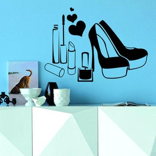 Wall Decal Fashion Beauty Salon Women's Shoes Love Heart Cosmetics Design Decals Decor