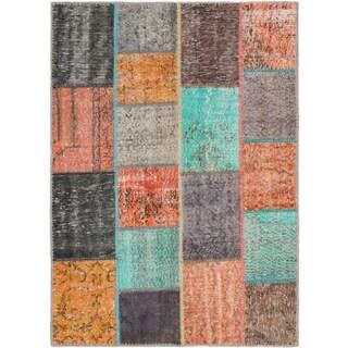 ecarpetgallery Color Transition Patch Blue/ Orange Wool Rug (4'8 x 6'6)