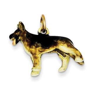 Versil 14k Gold Enameled Medium German Shepherd Charm