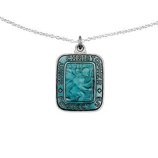 Versil Sterling Silver Blue Enamel Square St. Christopher Medal Pendant
