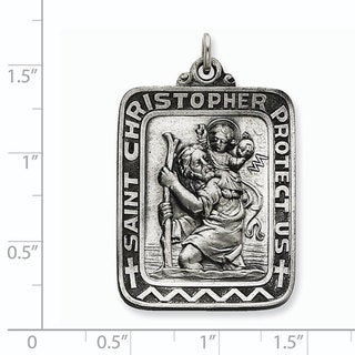 Versil Sterling Silver Antiqued Saint Christopher Medal With 18 Inch Chain