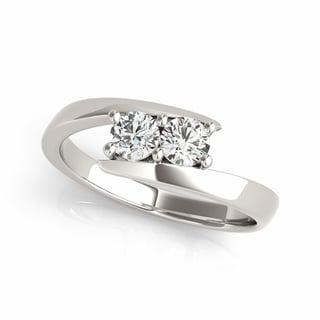 14k White Gold 1/8ct TDW Diamond Sleek Two-stone 'My Best Friend' Ring (G-H, I1-I2)