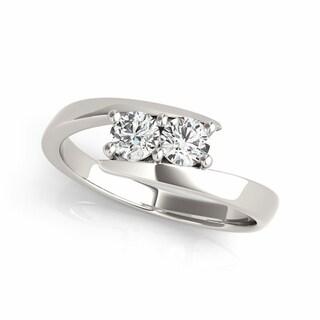 14k White Gold 1/4ct TDW Diamond Sleek Two-stone 'My Best Friend' Ring (G-H, I1-I2)