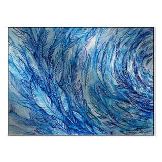 Galllery Direct Blue Feathers Watercolor Print on Mounted Metal Wall Art