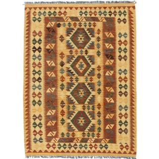 ecarpetgallery Hereke Kilim Orange Wool Kilim (4'4 x 5'10)