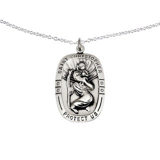 Versil Sterling Silver Saint Christopher Medal With 18 Inch Chain