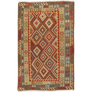 ecarpetgallery Anatolian Kilim Blue/ Red Wool Kilim (5'3 x 8'4)