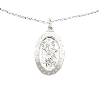 Link to Sterling Silver Saint Christopher Medal with 18-inch Chain by Versil Similar Items in Bracelets