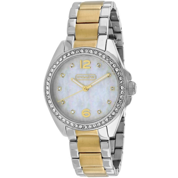 366164568e0 Shop Coach Women s Tristen Round Two-tone Stainless Steel Bracelet Watch -  Free Shipping Today - Overstock - 11179561