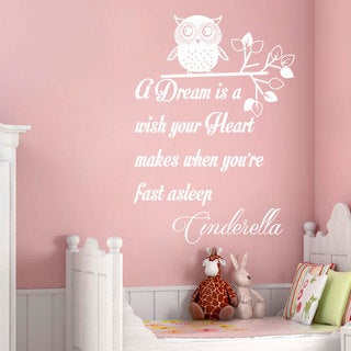 A Dream is a wish your Heart Quote Wall Art Sticker Decal White