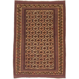 ecarpetgallery Tajik Tribal Red/ Yellow Wool Rug (6'4 x 9'2)