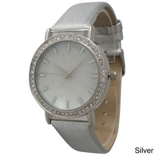 Olivia Pratt Minimalist Leather Rhinestone Watch