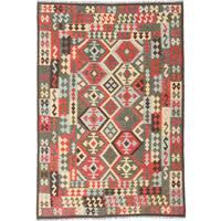 ecarpetgallery Sivas Red/ Yellow Wool Kilim (6'8 x 9'9)