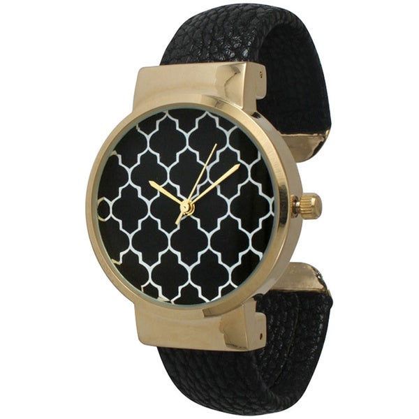 Olivia Pratt Geometric Pattern Cuff Watch