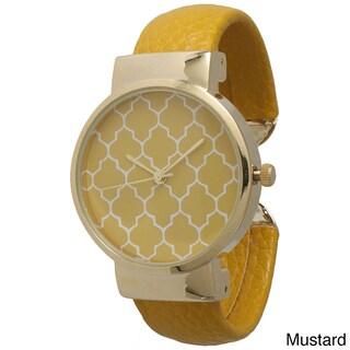 Olivia Pratt Geometric Pattern Cuff Watch