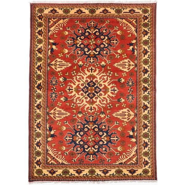 ecarpetgallery Finest Kargahi Brown Wool Rug - 6'11 x 9'6
