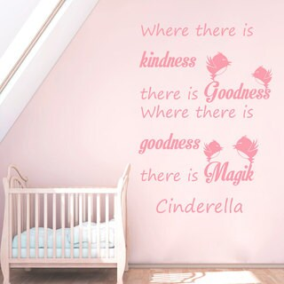 Quotes Cinderella Where There Is Kindness There Is Goodness Wall Art Sticker Decal Pink