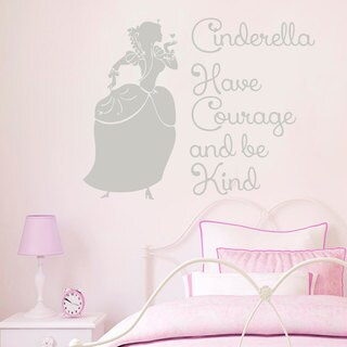 Cinderella Quotes Have Courage And Be Kind Wall Art Sticker Decal Silver