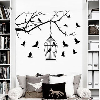 Wall Decals Birdcages with Birds Decal Tree Branch Nursery Bedroom Vinyl Sticker Home Decor