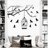 Wall Decals Birdcages with Birds Decal Tree Branch Nursery Bedroom Vinyl Sticker Home Decor