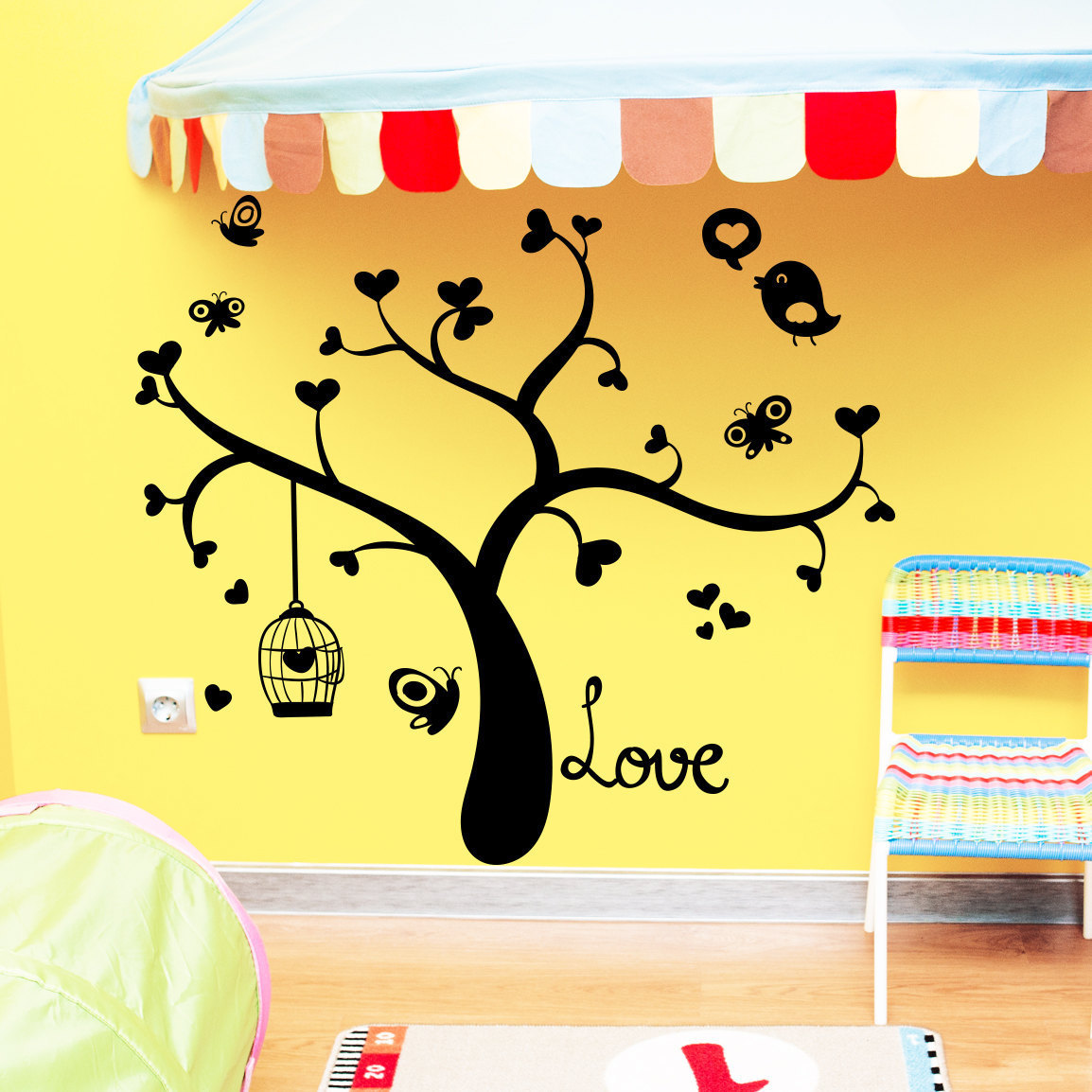 Wall Decal Tree Silhouette Hearts Bird Decals Natural for...