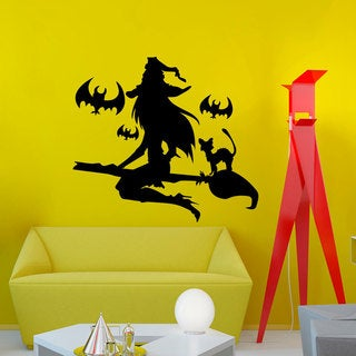 Witch on a Broomstick Wall Art Sticker Decal