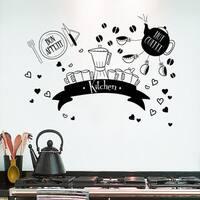 Kitchen Shelves With Cookware Kettle Bon Appetit Wall Art Sticker Decal