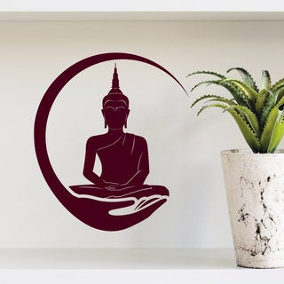 Buddha in his Hand Wall Art Sticker Decal Red