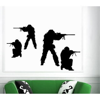 Soldier with military Weapons Wall Art Sticker Decal