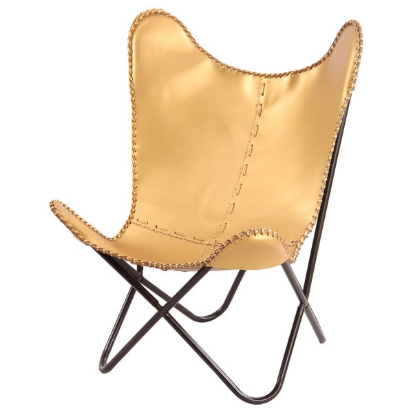 Shop Gold Leather Butterfly Chair Free Shipping Today