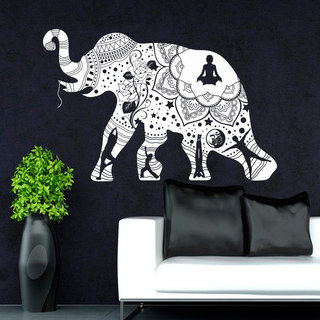 Yoga Mandala Tribal Buddha Ganesh Wall Art Sticker Decal White