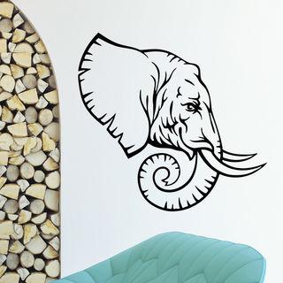 Profile Elephant Wall Art Sticker Decal