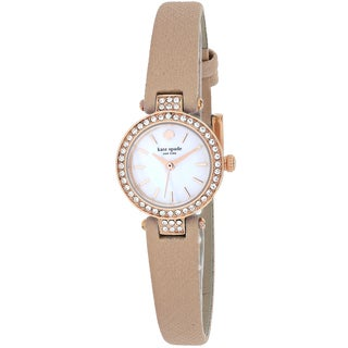 Kate Spade Women's 1YRU0719 Tiny Metro Round Beige Leather Strap Watch