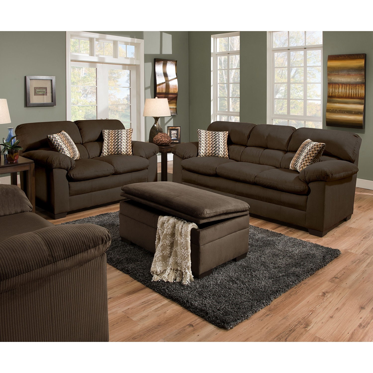 Simmons Upholstery Lakewood Cappuccino Sofa (Sofa), Brown...