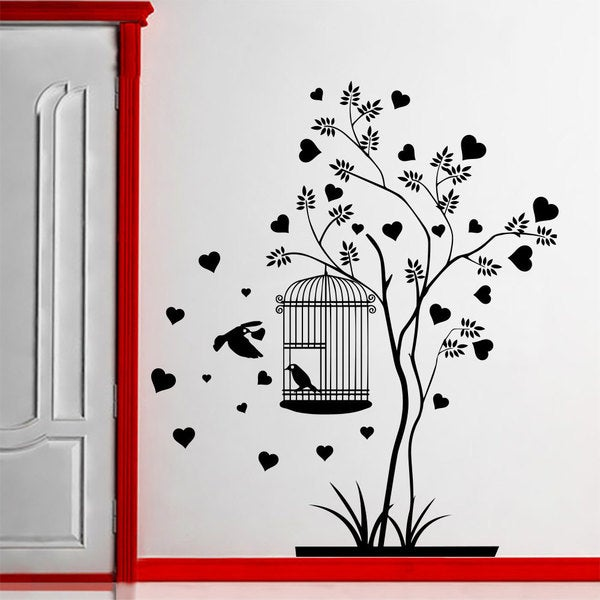 Wall Decal Tree Silhouette With Branches Birdcage Bird Wall Decals Playroom Nursery