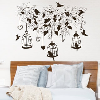 Wall Decal Flowers Tree Birds in Cage Design Wall Decals Bedroom Living Room Hotel Decor Brown
