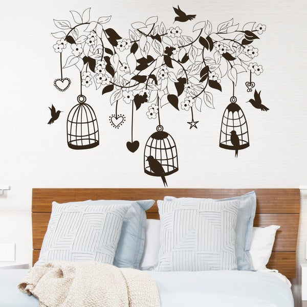 Shop Wall Decal Flowers Tree Birds In Cage Design Wall