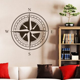 Nautical Compass Rose North South West East Star Wall Art Sticker Decal