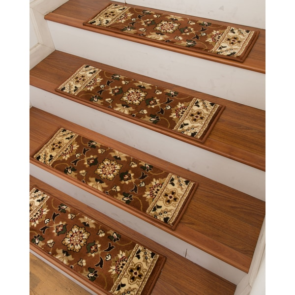 Sofia Carpet Stair Treads Set Of 13 Brown 13PC 9 X 29