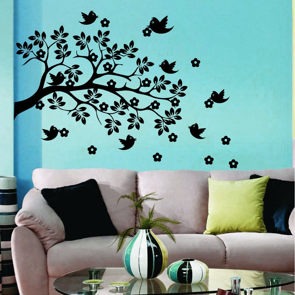 Wall Decal Tree Branch With Bird Flowers Wall Decals For ...